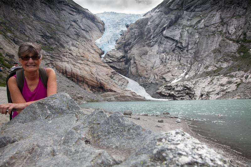 Barb at Briksdall Glacier