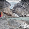 Barb at Briksdall Glacier