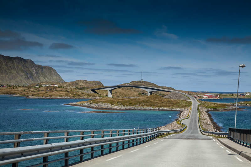Lofoten Islands all connected by bridges and tunnels.