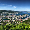 panoramic view of Bergen from the funicular