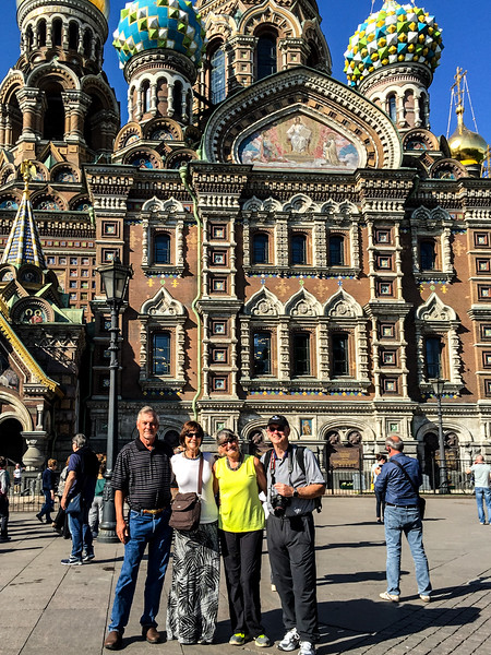 Richard, Kathi, Barb, Bill at the Church on Spilled Blood, St. Petersburg