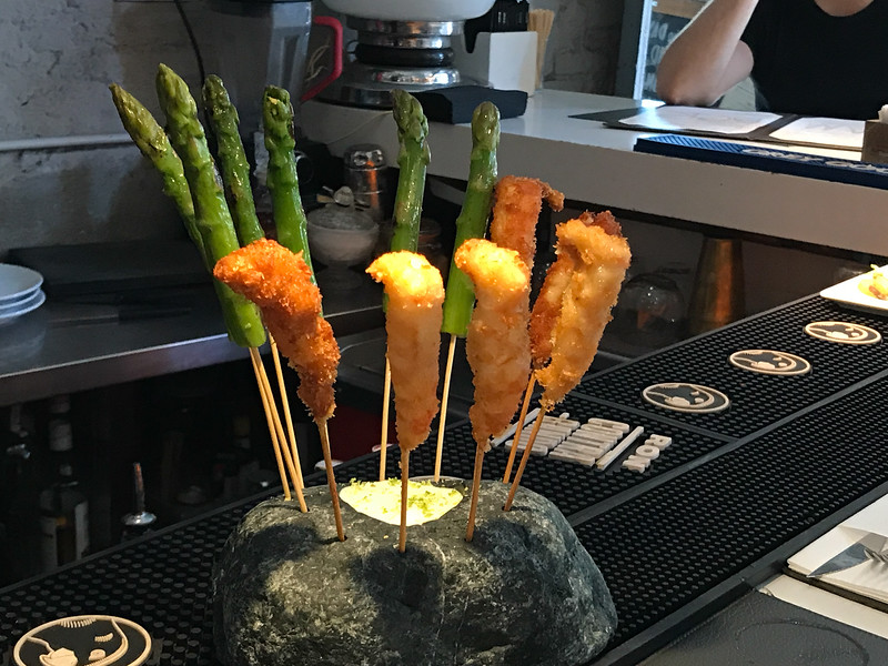 Tapas at Llamber restaurant in Barcelona, shrimp and asparagas