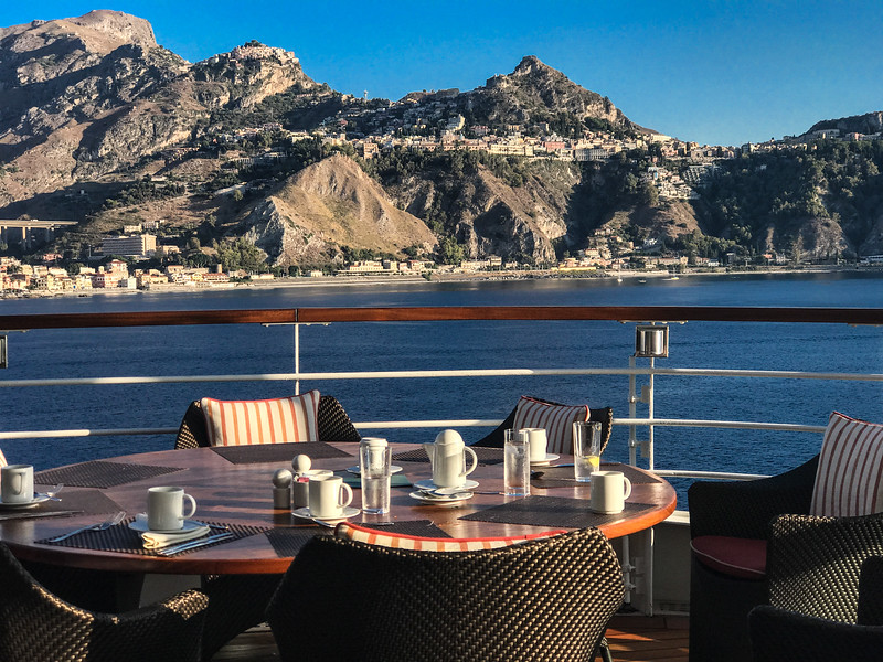 Taormina, Sicily from the breatkfast table of the Encore