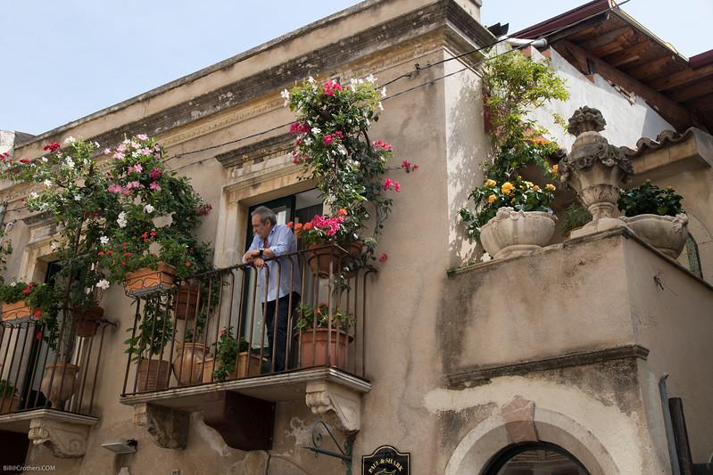 Taormina balcony on shoppping street
