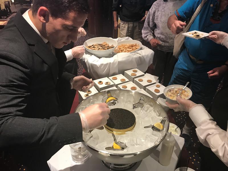 aboard the Encore where caviar abounds.