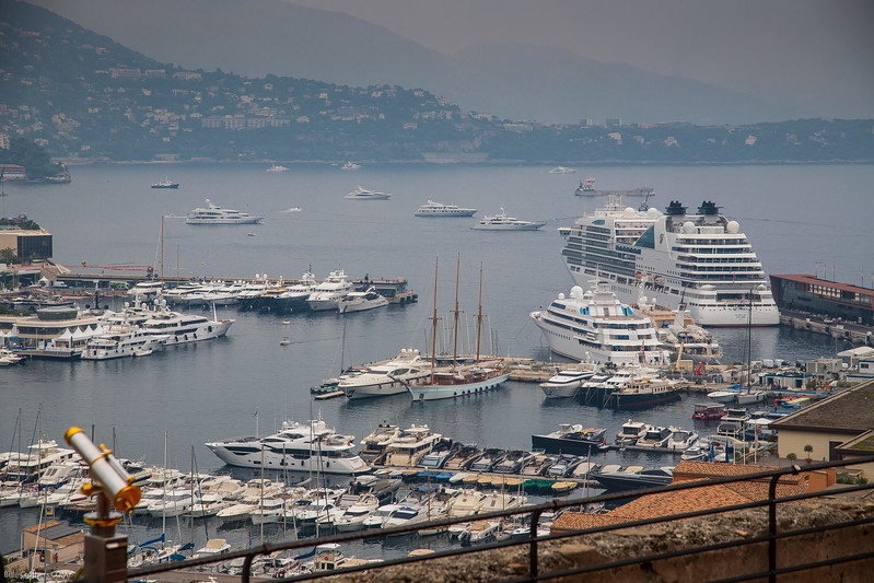 Monte Carlo harbor looking down on the Encore through the fog