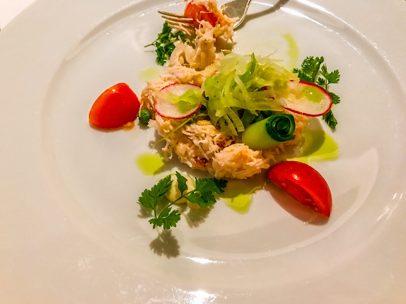 Dungeness crab meat appetizer in the Encore main restaurant (had to have seconds)