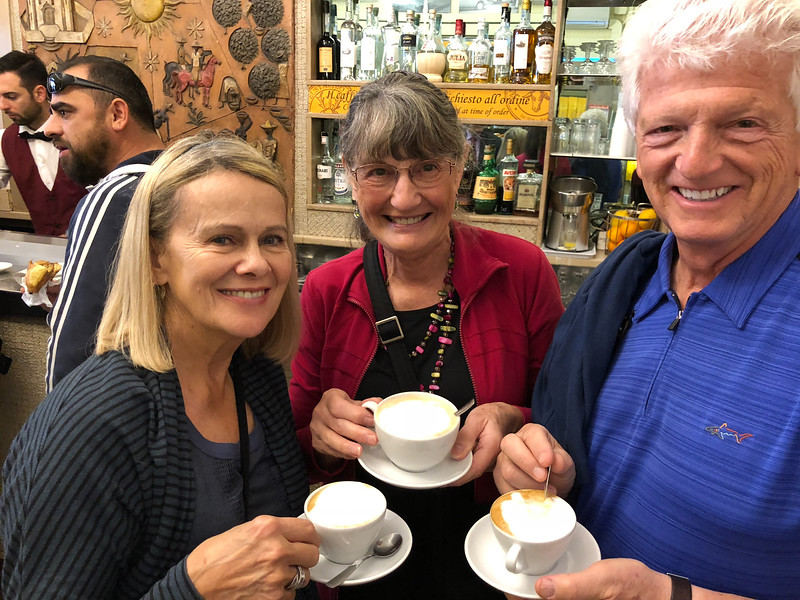 real cappucinos in Rome, Joyce, Barb and Jim