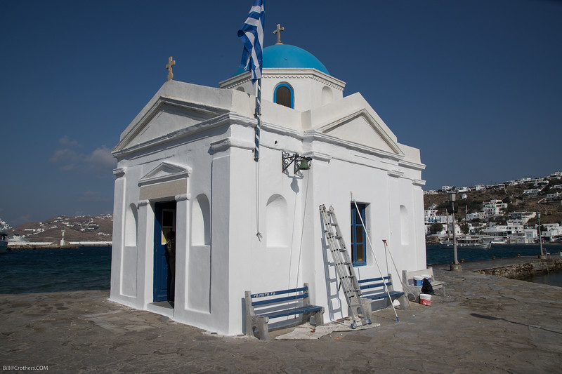 Mykonos harbor church