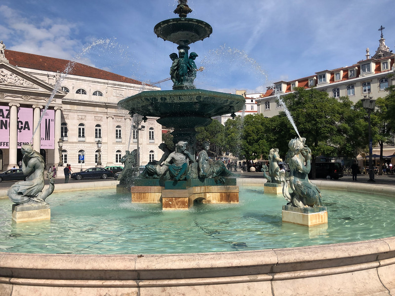 Lisbon, fountain near Rossio Station