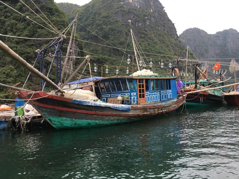 boats at fishing village in Halong Bay