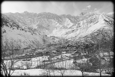 Village in Kashmir Valley in winter