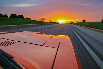 4-16-19 Sunset driving Datsun through OK