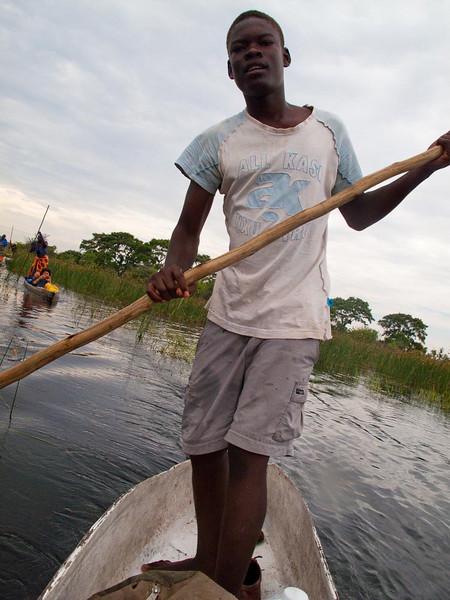 Our young Makoro poler in the Okavanga Delta