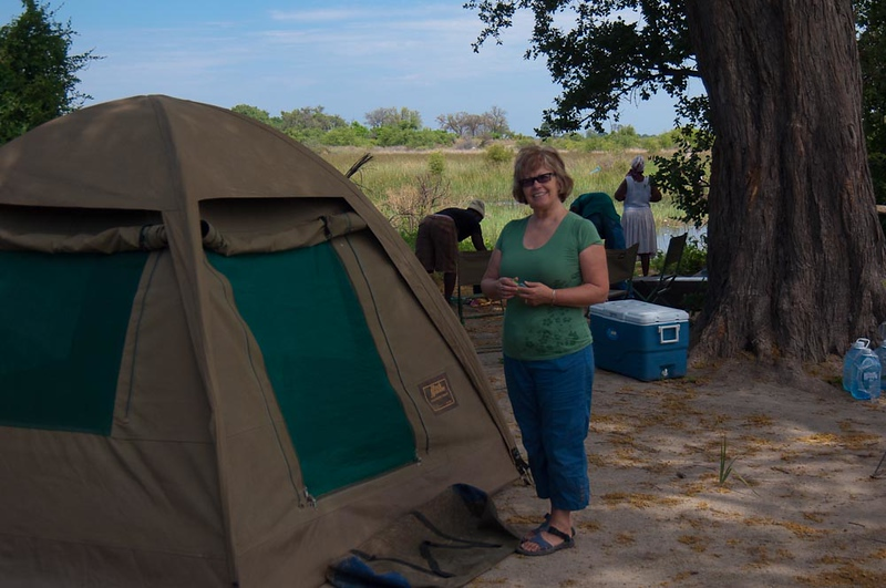 Mary at our campsite in the Okavanga Delta
