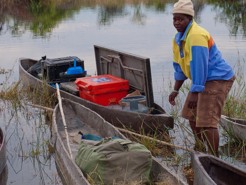 Loading our Makoro in the Okavanga Delta