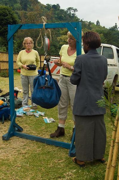 Weigh in at Rwenzori Mountaineering Services (RMS) office, Nyakalengija. Alt 1646m.