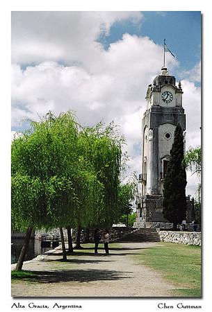 The clock tower at the Tajamar, Alta Gracia