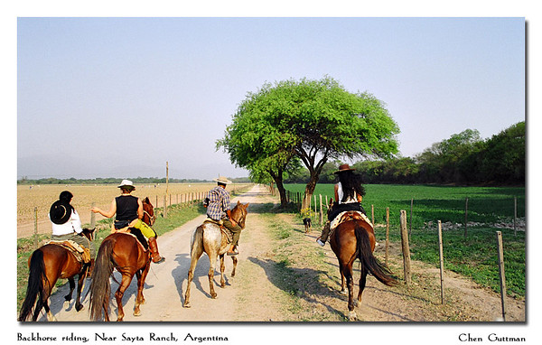 This was taken while we horseback ride outside of the farm - it was an experience!