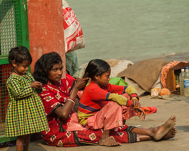 Family life on the river bank. Calcutta