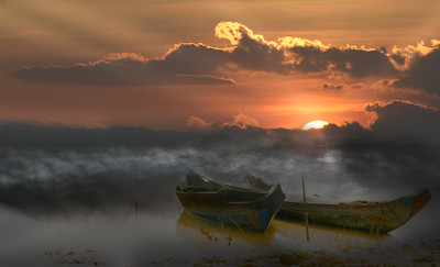 Cambodian Boats At Dawn