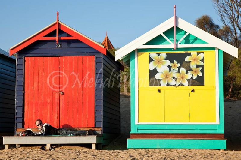 Middle Brighton Pier beach, VIC, Melbourne, Australia. 25 April 2011 (Bathing boxes).