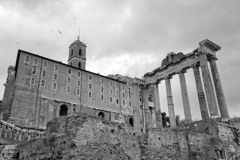 The Tabularium in the Roman Forum of Rome - Black & white photograph