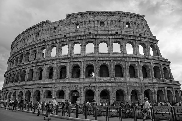 Tourists Visiting the Colosseum in Rome -Black & white photograph