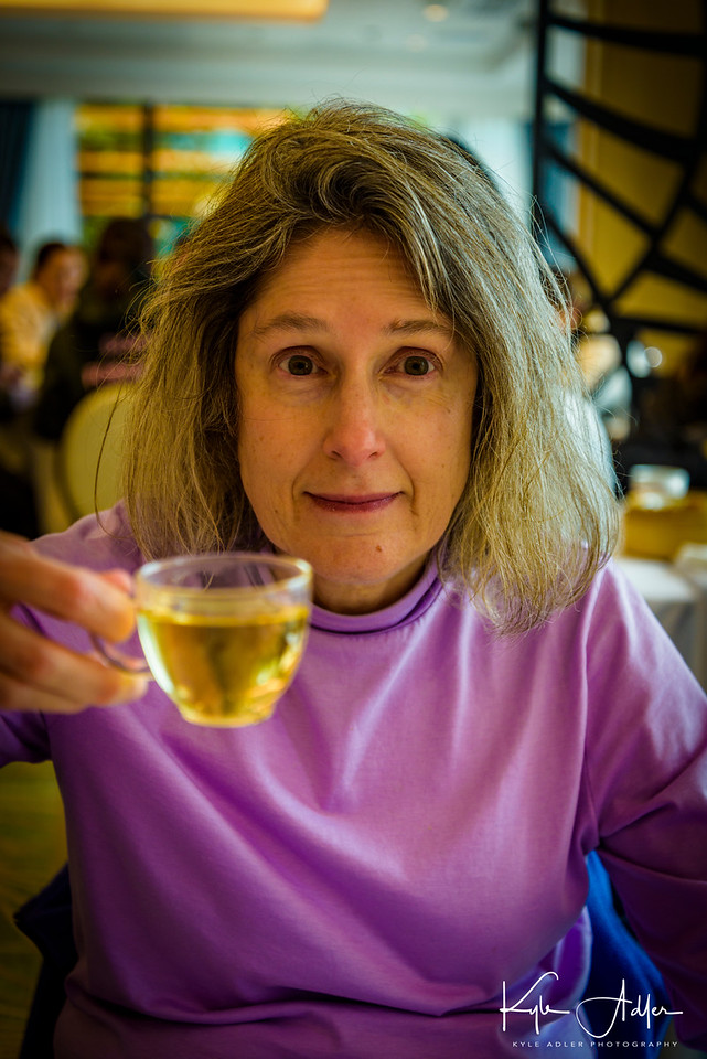 Mary enjoys her tea during a lovely dim sum brunch on the harbor.