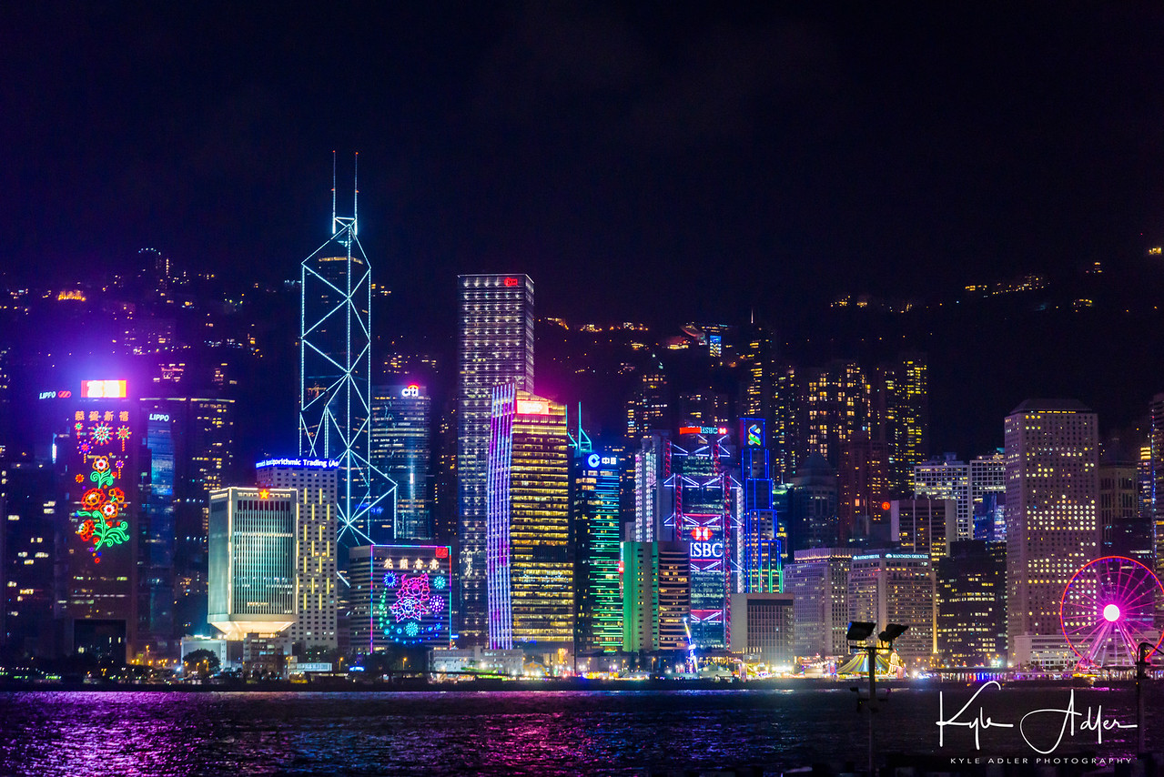 Hong Kong's skyline at night.