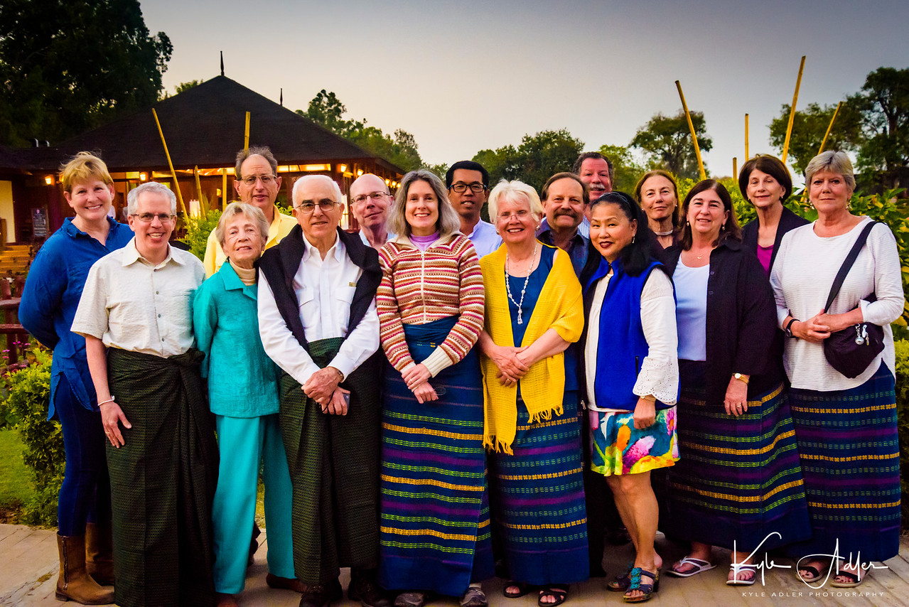 Group portrait on the last night of our Burma adventure.  From left to right: Peggy, Jeff, Liz, Harry, Tom, Tim, Mary, trip leader Kevin, Linda, Ron Kyle, Carol, Tyrrell, Kathy, Joan, and Linda.