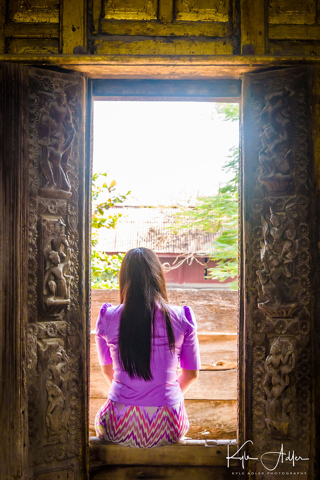 A quiet moment at the entrance to Shwenandaw Kyaung Monastery.