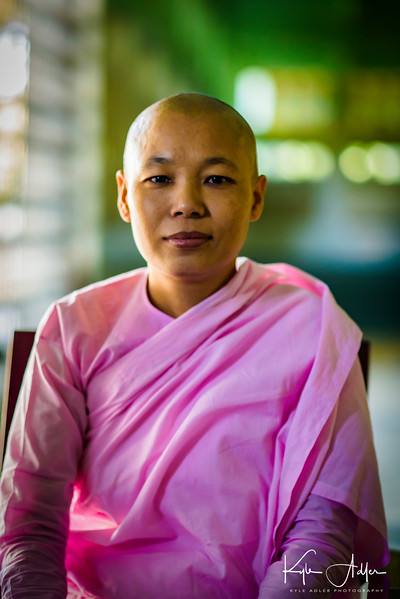 Portrait of the abbess at Myawaddy Nunnery.