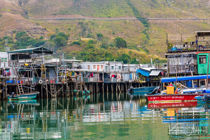 Traditional Lantau Island fishing village, with houses built on stilts.