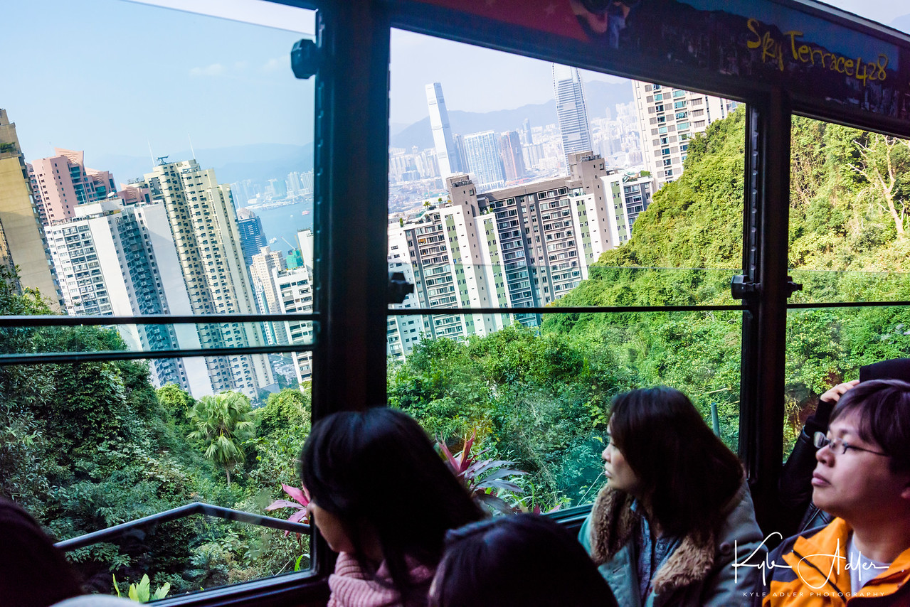 After taking the Star Ferry across the harbor, we caught the Peak Tram up to the top of Victoria Peak.