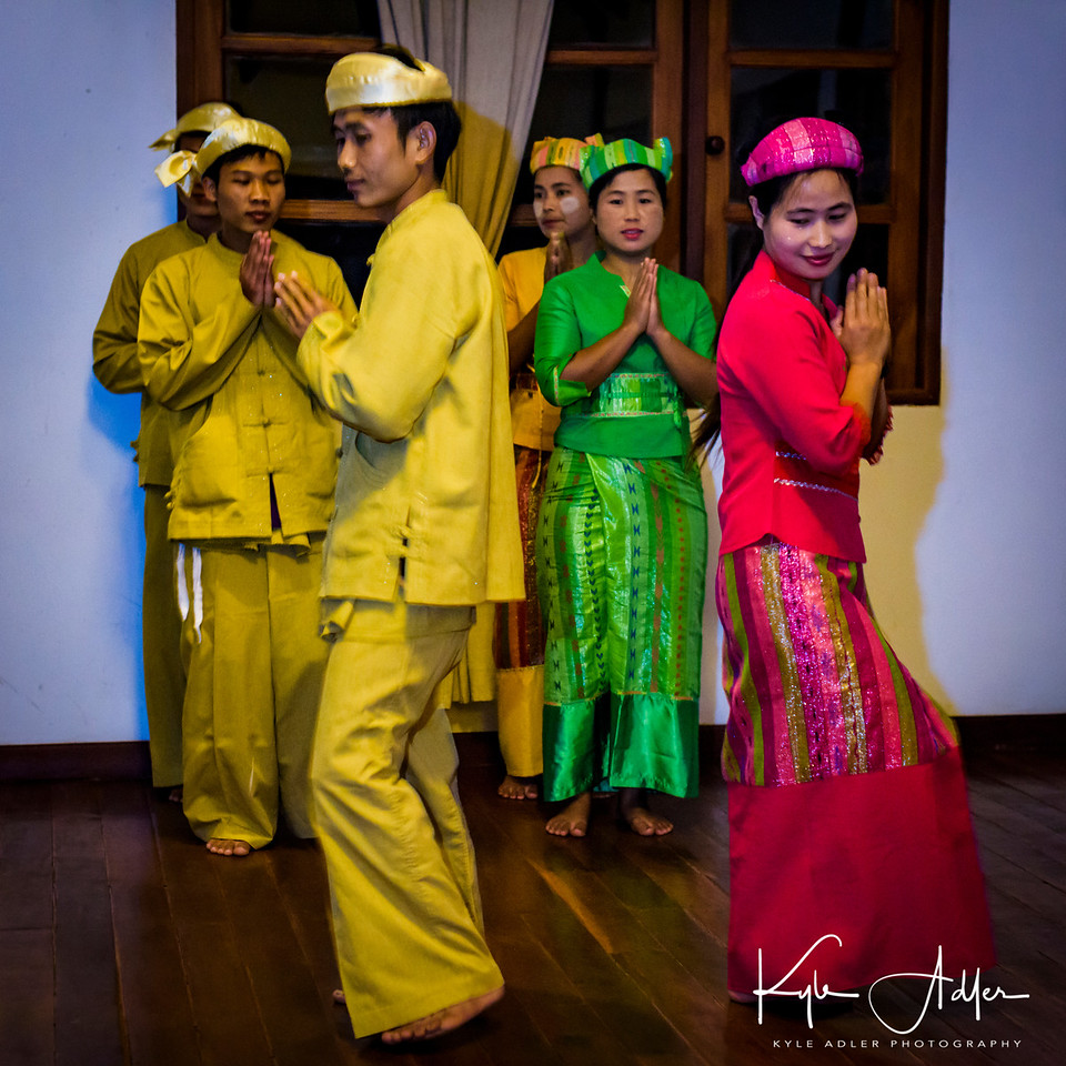 The staff at our Inle Lake resort were kind enough to put on a traditional Burmese ethnic dance show during our farewell dinner.  Though they were not professional dancers, the performance was fascinating and very nicely executed.