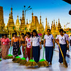 Armies of volunteer sweepers make the rounds at Shwedagon Pagoda to ensure the temple is kept spotless.