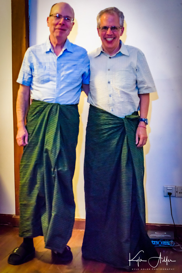 Tim and Jeff model the latest in longyi fashion.