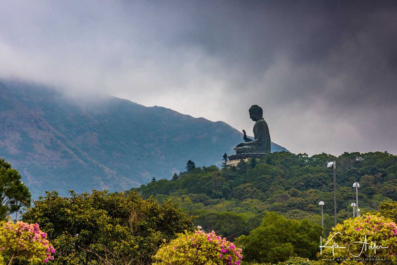 Tian Tan Buddha viewed from the Lantau Island cable car.
