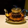 A pot of rare green tea with our dessert.