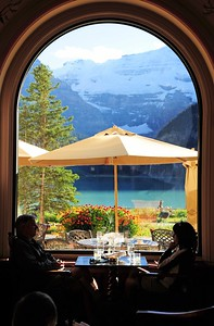 View from the Fairmont Chateau Hotel, Lake Louise
