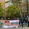 Student protest on the streets of Santiago, minutes before the arrival of police with water cannon and teargas.