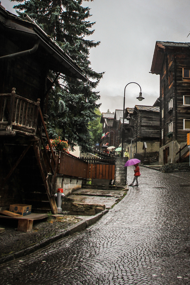 Rainy day in Zermatt, Switzerland