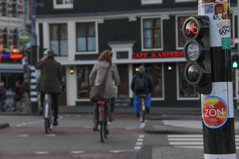 Amsterdammers are notorious for whizzing around the city, avoiding traffic signals.
