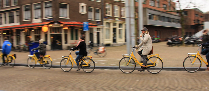 There are 35 bicycle rental companies in Amsterdam. Many of them offer a variety of tours and types of cycles. These explorers are on Yellow Bike's cycles.