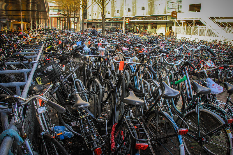 Number of bicycles: 881,000 bicycles in a city of 780,000 residents (January 2011 figures from the Amsterdam Department for Research and Statistics). That is 1.3 bicycles per person! - Police periodically put orange tags on parked bikes. Those with tags remaining after a month or so get impounded.