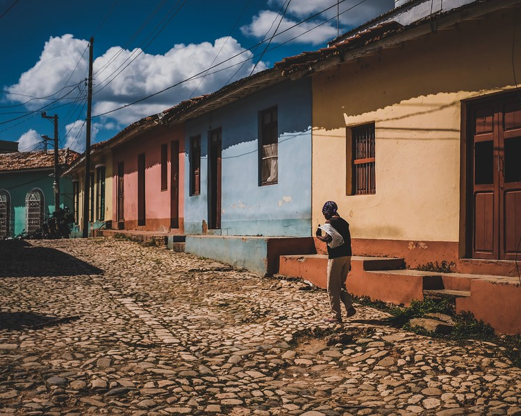 A Cuban woman walks in the streets of Trinidad, Cuba.