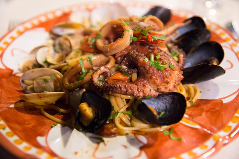Pasta with octopus at italian restaurant in Anacapri