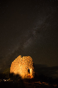 Night view of an ruin on Cedar Mesa