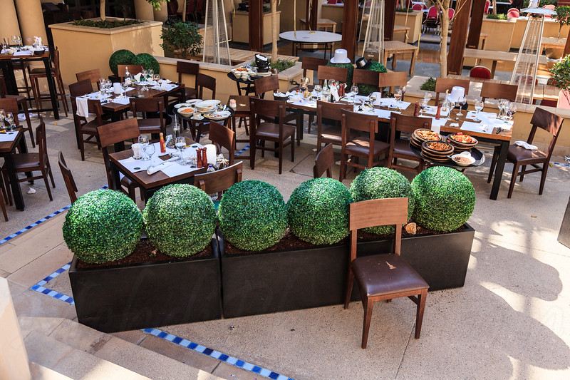 DUBAI - JANUARY 1: The address hotel got fired on the new years eve. This is the aftermath the next day which shows restaurant where people escaped and left their food  as seen on January 1, 2016.
